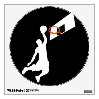 Jugador de básquet de la clavada - silueta blanca vinilo adhesivo
