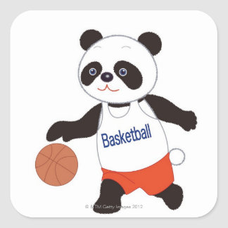 Jugador de básquet de la panda que gotea pegatina cuadrada