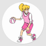 Jugador de básquet de los chicas etiquetas redondas