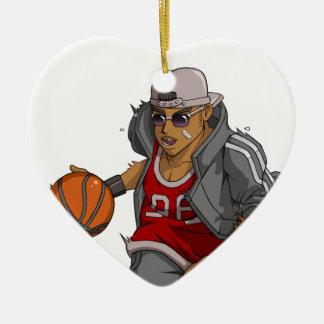 Jugador de básquet de Manga Adorno Navideño De Cerámica En Forma De Corazón