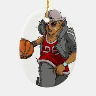 Jugador de básquet de Manga Adorno Navideño Ovalado De Cerámica