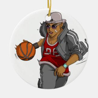 Jugador de básquet de Manga Adorno Navideño Redondo De Cerámica