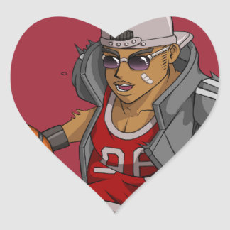 Jugador de básquet de Manga Pegatina En Forma De Corazón