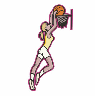 jugador de básquet de sexo femenino dunking una bo esculturas fotográficas