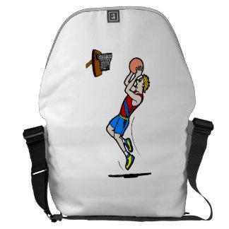 Jugador de básquet del dibujo animado bolsa de mensajeria