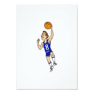 Jugador de básquet del Layup en azul Invitación 12,7 X 17,8 Cm