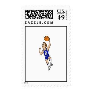 Jugador de básquet del Layup en azul Sello