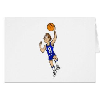 Jugador de básquet del Layup en azul Tarjeton
