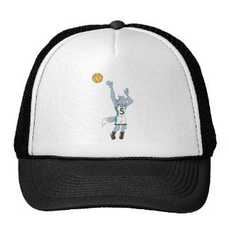 Jugador de básquet del lobo que hace un tiro gorras