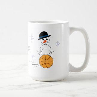 Jugador de básquet del muñeco de nieve tazas de café