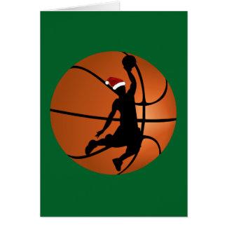 Jugador de básquet del navidad en baloncesto tarjeta de felicitación