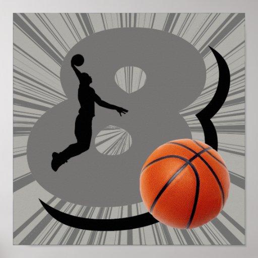 Jugador de básquet del número 8 póster