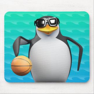 jugador de básquet del pingüino 3d alfombrilla de ratones