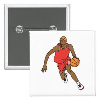 jugador de básquet del vector que gotea pin cuadrada 5 cm