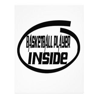 Jugador de básquet dentro membrete a diseño