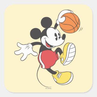 Jugador de básquet deportivo de Mickey el | Pegatina Cuadrada