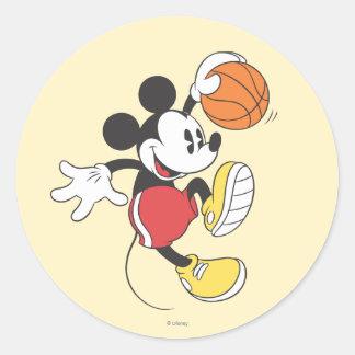 Jugador de básquet deportivo de Mickey el | Pegatina Redonda