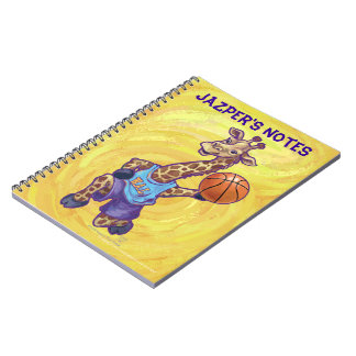 Jugador de básquet divertido de la jirafa libro de apuntes con espiral