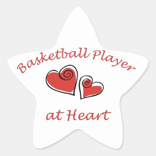 Jugador de básquet en el corazón pegatina en forma de estrella