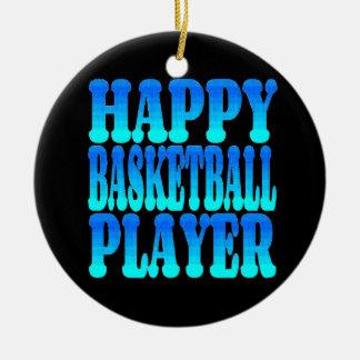 Jugador de básquet feliz en azul adorno navideño redondo de cerámica