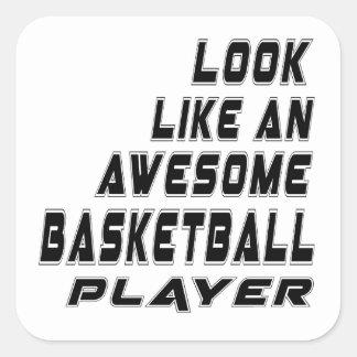 Jugador de básquet impresionante pegatina cuadrada