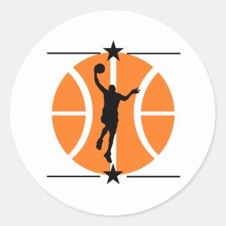 Jugador de básquet pegatina redonda