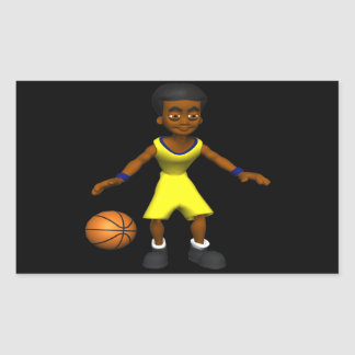 Jugador de básquet pegatina rectangular