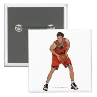 Jugador de básquet pin cuadrado