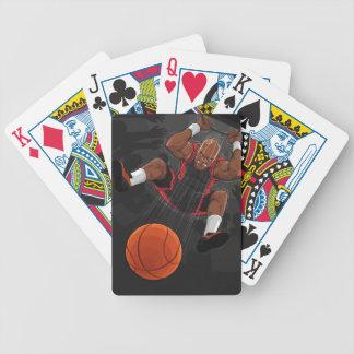 Jugador de básquet que hace clavada cartas de juego