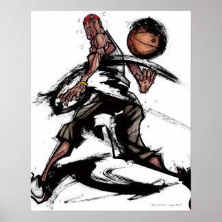 Jugador de básquet que juega con baloncesto póster