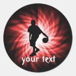 Jugador de básquet; Rojo Etiqueta Redonda