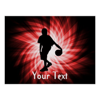 Jugador de básquet; Rojo Póster