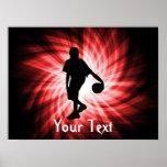 Jugador de básquet; Rojo Posters