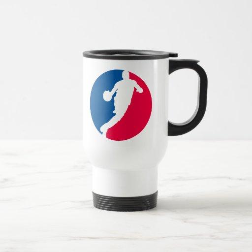 Jugador de básquet rojo y azul redondo taza de café