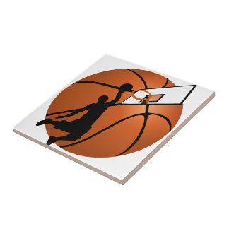Jugador de básquet w/Hoop de la clavada en bola Azulejo Cuadrado Pequeño