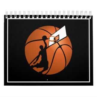 Jugador de básquet w/Hoop de la clavada en bola Calendario De Pared