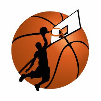 Jugador de básquet w/Hoop de la clavada en bola Esculturas Fotográficas