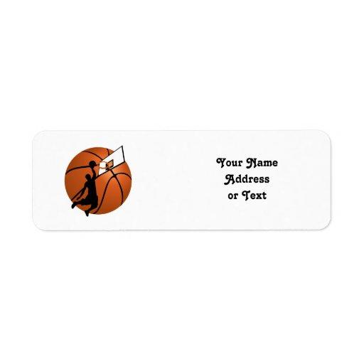 Jugador de básquet w/Hoop de la clavada en bola Etiqueta De Remitente