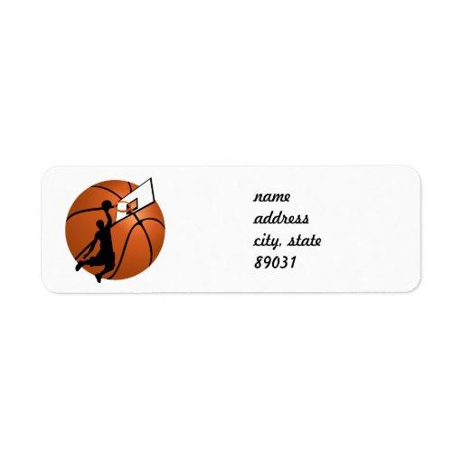 Jugador de básquet w/Hoop de la clavada en bola Etiquetas De Remite