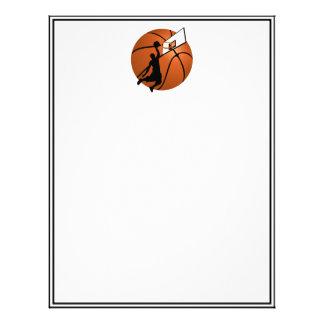 Jugador de básquet w/Hoop de la clavada en bola Plantillas De Membrete