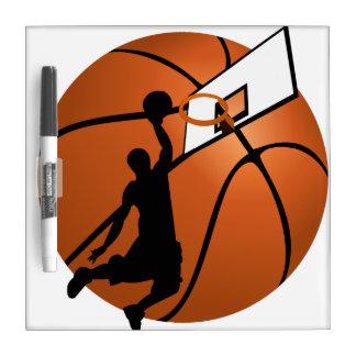 Jugador de básquet w/Hoop de la clavada en bola Pizarras