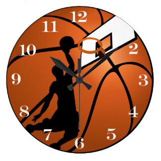 Jugador de básquet w/Hoop de la clavada en bola Reloj Redondo Grande