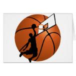 Jugador de básquet w/Hoop de la clavada en bola Felicitaciones