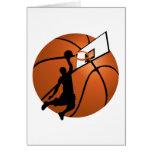 Jugador de básquet w/Hoop de la clavada en bola Tarjetas