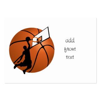 Jugador de básquet w Hoop de la clavada en bola Plantillas De Tarjeta De Negocio