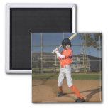 Jugador de béisbol 3 imán cuadrado