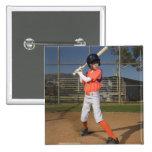 Jugador de béisbol 3 pin cuadrado