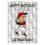 Jugador de béisbol adaptable del dibujo animado felicitación