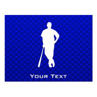Jugador de béisbol azul postales