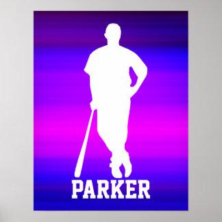 Jugador de béisbol; Azul violeta y magenta Póster
